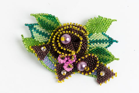 Rose with Buds and Leaves Brooch; purple, yellow, greens