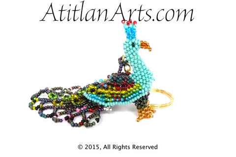 Beaded Peacock Keychain, turquoise body, multi tail [Birds]