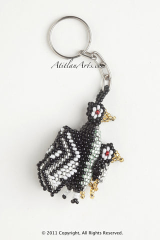 Penguin with chick black silver white stripe wings [Birds]