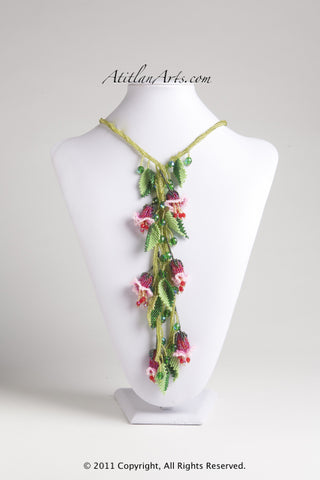 Pink & Red Fuschia with Light Green Lariat Necklace