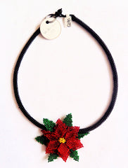Christmas Poinsettia Circle Necklace