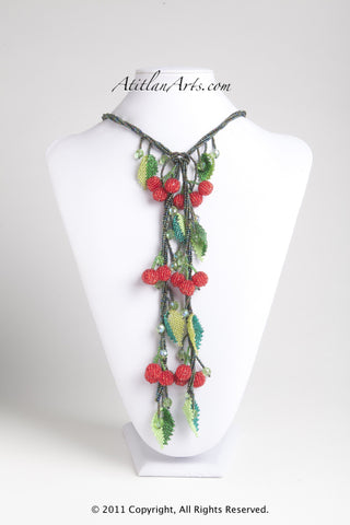 Red Berries with Dark Green Lariat Necklace