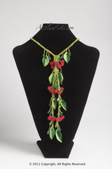 Red Berries with Light Green Lariat Necklace