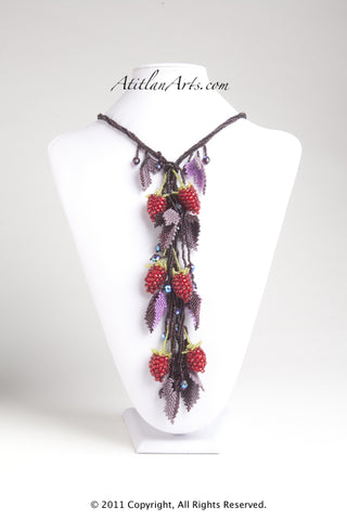 Red Raspberries with Purple Lariat Necklace