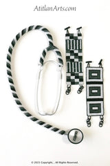 Stethoscope #1 - Fully Beaded, in Black, White & Gray
