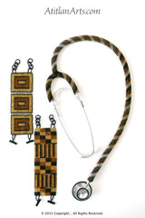 Stethoscope #2 - Fully Beaded, in Black, Gold, Canela & Silver