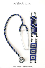 Stethoscope #3 - Fully Beaded, in Royal Blue, Silver & Black