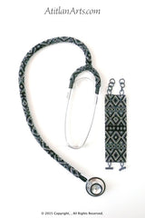 Stethoscope #4 - Fully Beaded, in Black, Silver & Gray Mayan Design