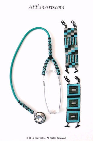 Stethoscope #6, Partially Beaded in Turquoise Green, Silver & Black, Mayan Design