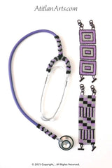 Stethoscope #7, Partially Beaded in Purple, Silver & Black, Mayan Design