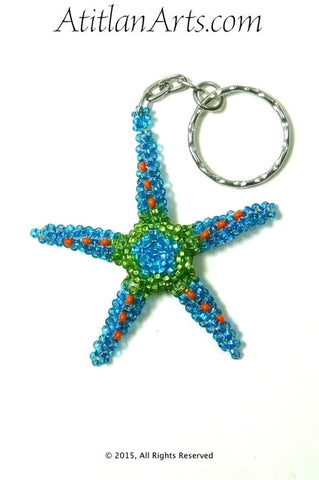 Beaded Starfish #1 Keychain, Turquoise & Green [Sea Life]