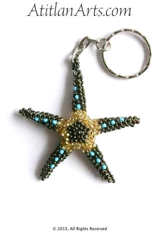Beaded Starfish #4 Keychain, Aceite & Gold [Sea Life]