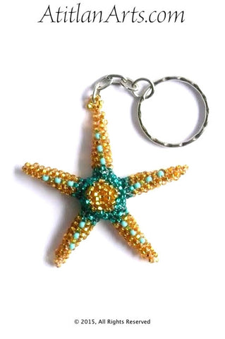 Beaded Starfish #5 Keychain, Gold & Esmerelda [Sea Life]