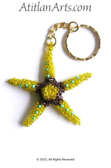 Beaded Starfish #6 Keychain, Lemon Yellow & Brown [Sea Life]