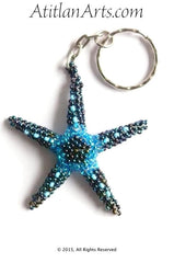 Beaded Starfish #7 Keychain, Blue Pavoreal & Sky Blue [Sea Life]