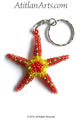 Beaded Starfish #8 Keychain, Red & Gold [Sea Life]