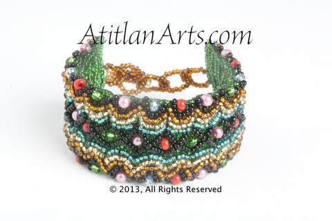 "Beaded Wavy Bracelet, 1.5"" wide, green"