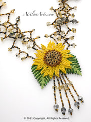 Yellow Sunflower Crystal Burst Necklace