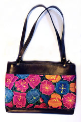 Handwoven Bag 08.2 with Leather Trim & Silk Embroidered Flowers
