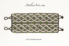 Flat Bracelet Lattice Silver Green