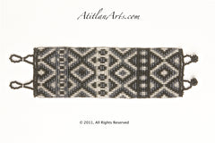 Flat Bracelet Black & Silver Diamond Pattern