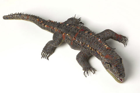 LARGE Hand-Beaded Alligator, Museum Quality Collector's Item!  [Reptile]