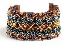 "Wavy Bracelet 1.5"" wide, Brown & Gold ~ Series 1"