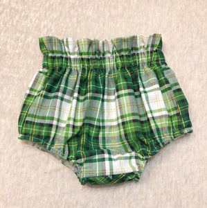 Ruffle Top Bloomers: St Pattys Day Plaid