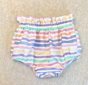 Ruffle Top Bloomers: Watercolor Stripes