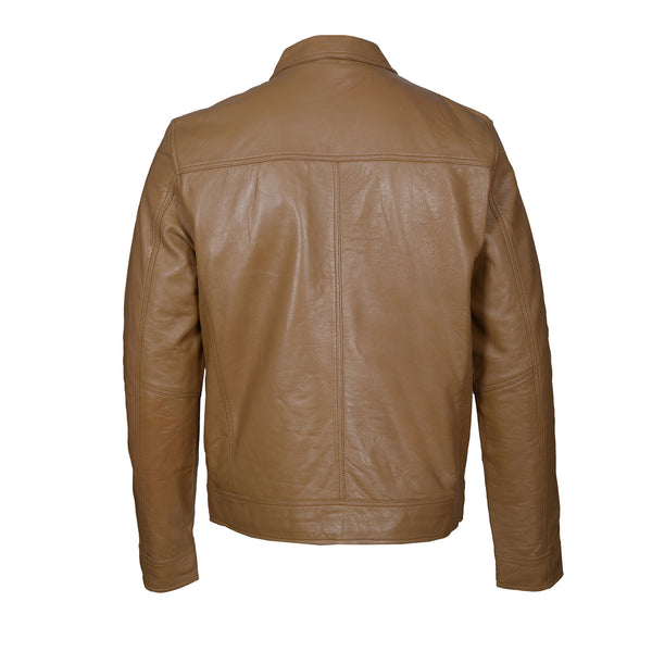 Tailored Brown Leather jacket-For Man-karizmamoto
