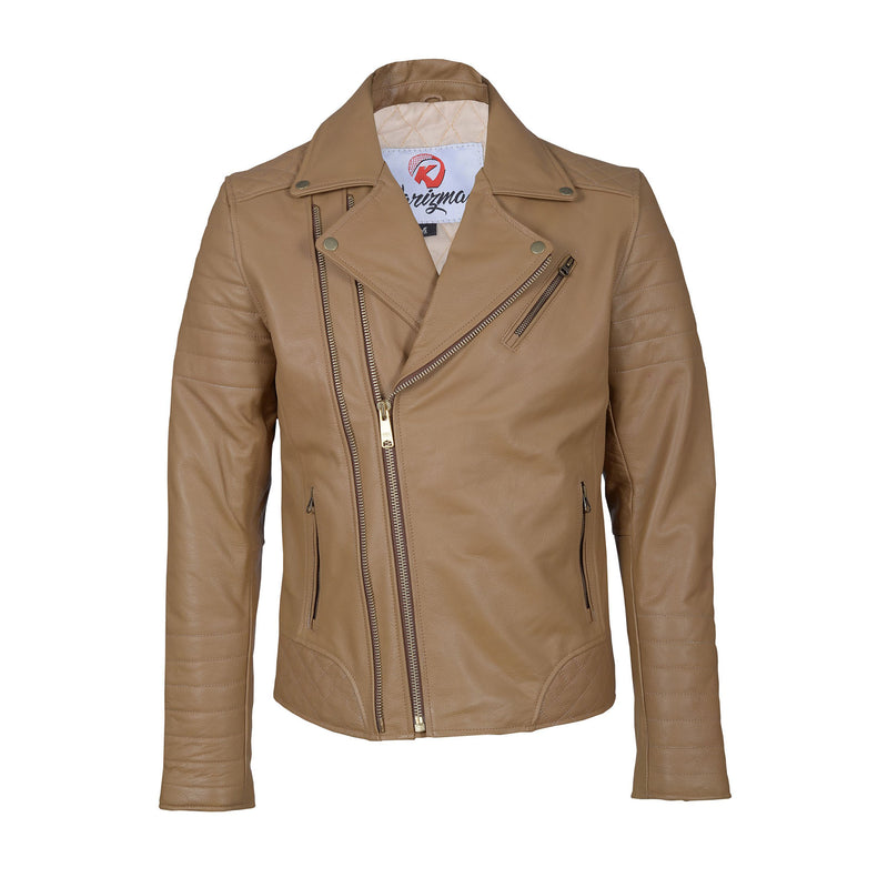 Tailored Fit Top Grain Brown Leather Jacket-For Man-karizmamoto