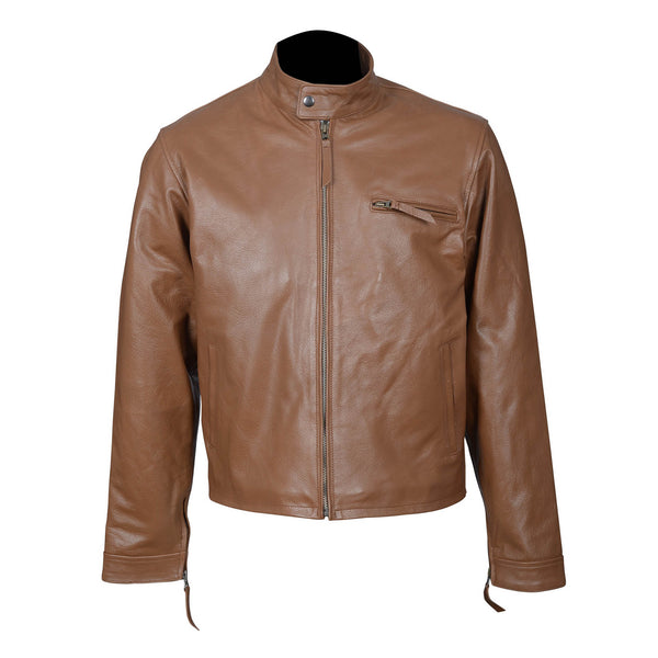 Sophisticated Brown Top Grain Cowhide Leather jacket-For Man-karizmamoto
