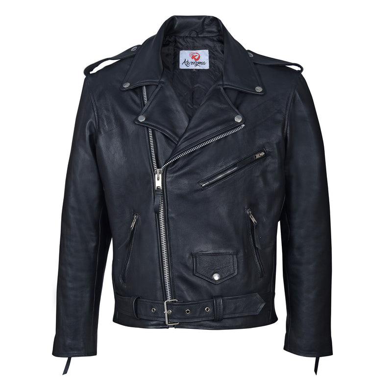 Mid-length Top Grain cowhide leather jackets-For Man-karizmamoto