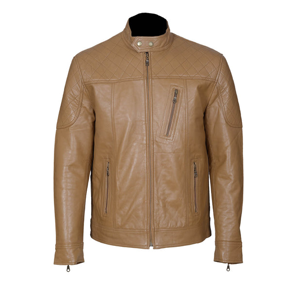 Tailored Fit Coffee Brown Leather Jacket-For Man-karizmamoto