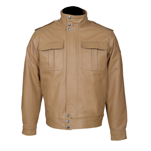 Two Flap-Closure Tailored Fit Top Grain Leather Jacket-For Man-karizmamoto