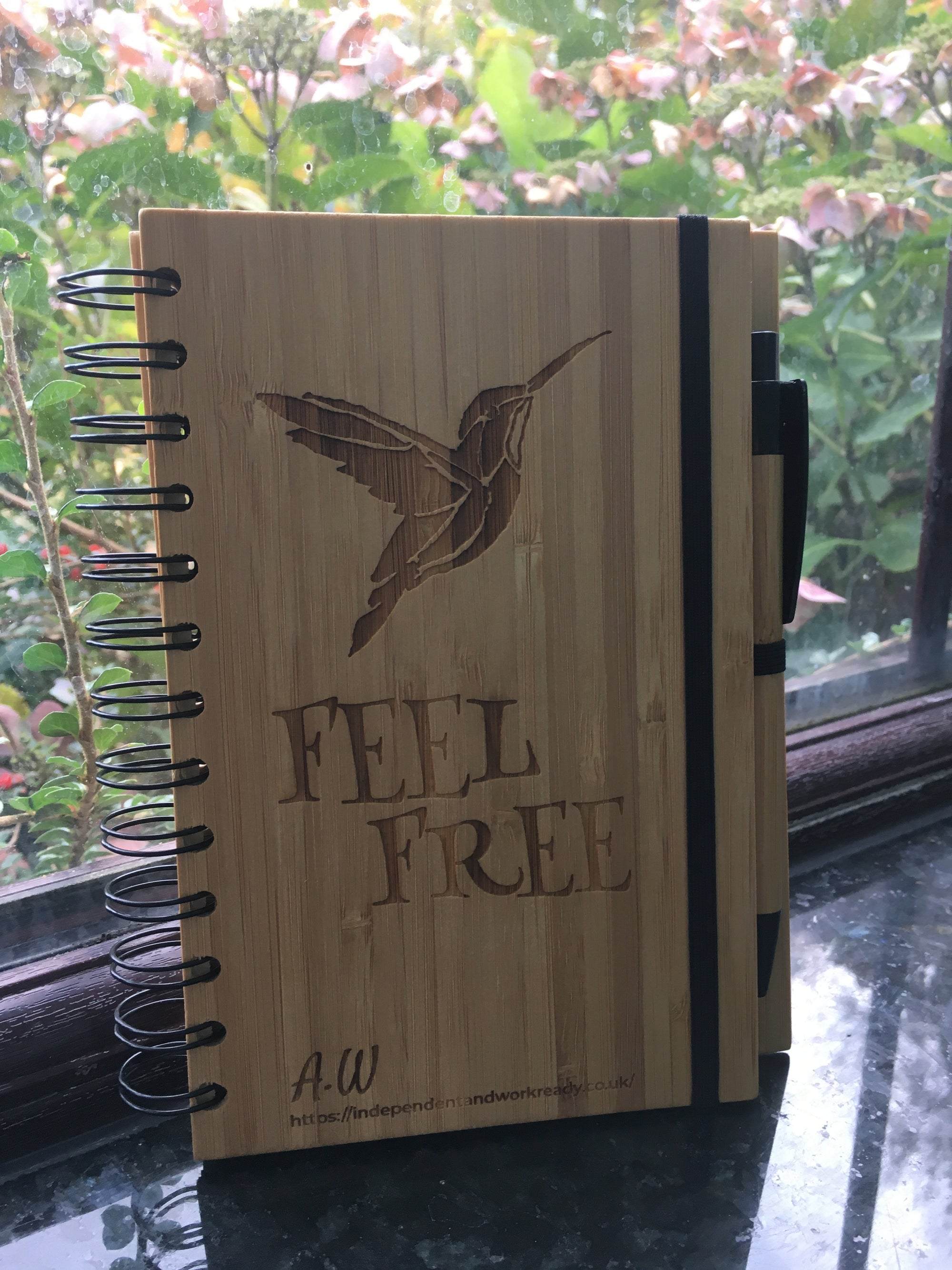 A5 Bamboo Hummingbird notebook with pen