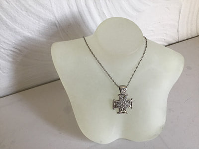 Sterling Silver hallmarked hand carved double sided cross on a sterling silver 30 inch chain