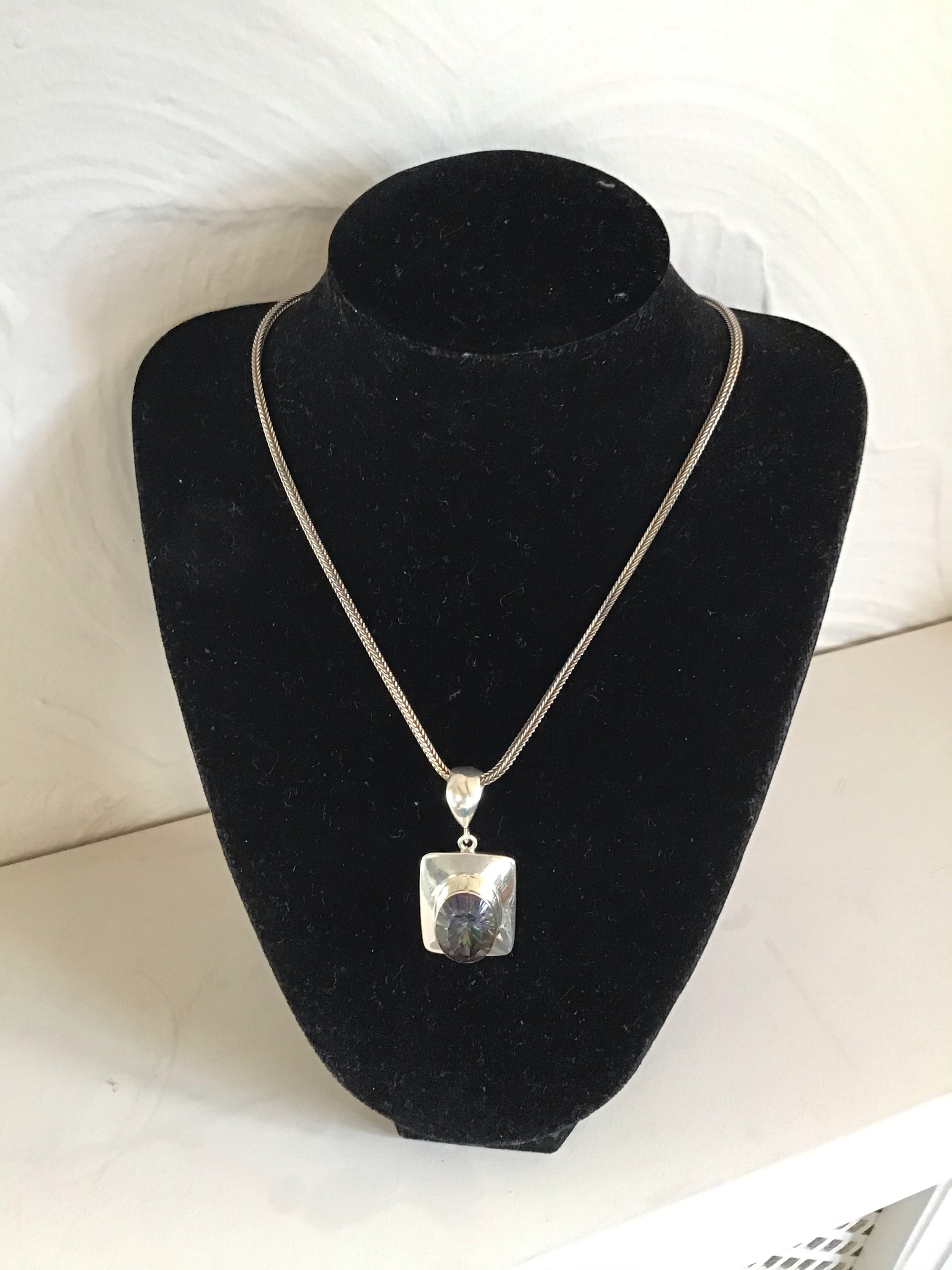 Mystic Quartz pendant sterling silver and on a silver chain