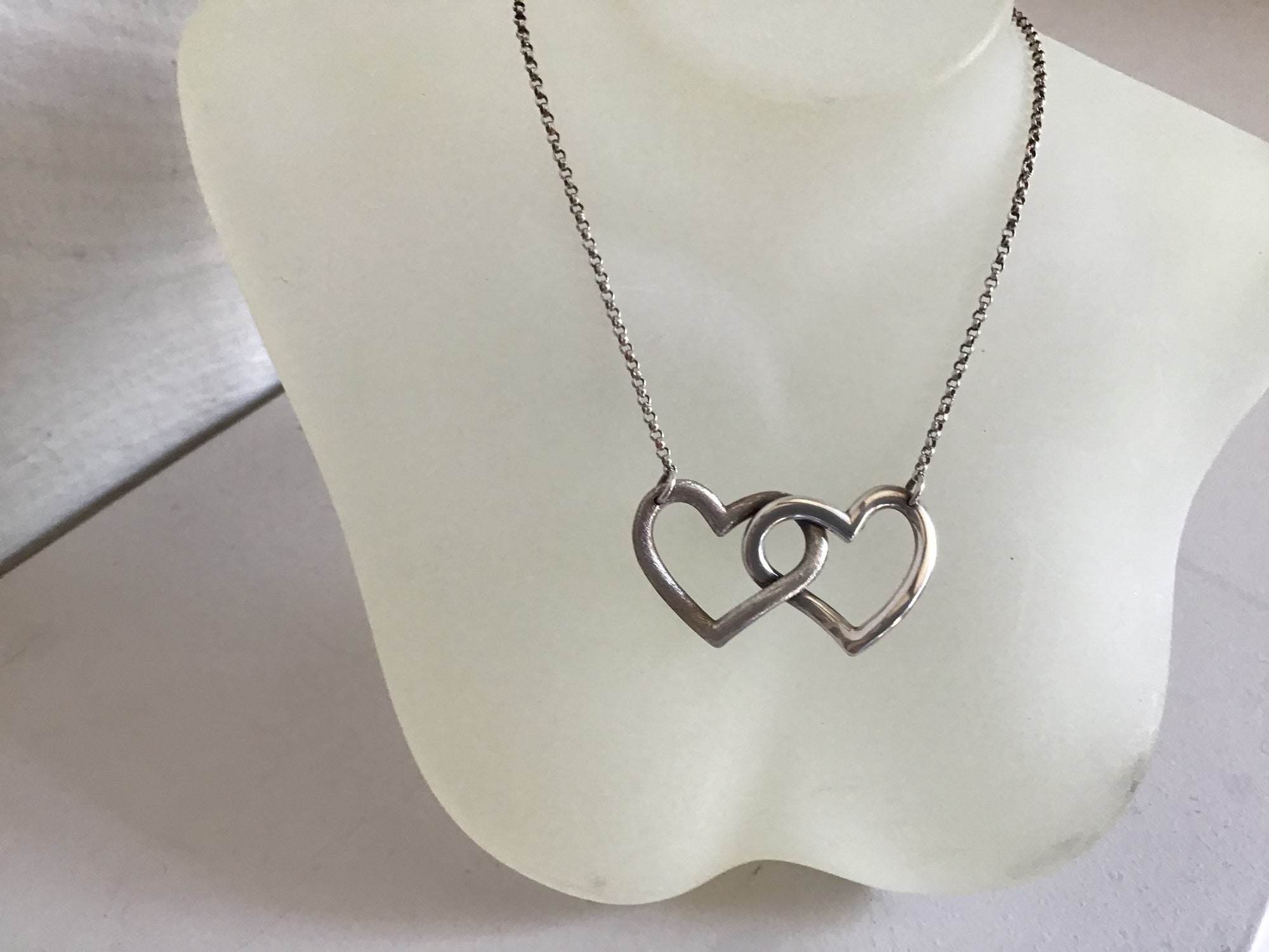 Silver 925 two hearts necklace
