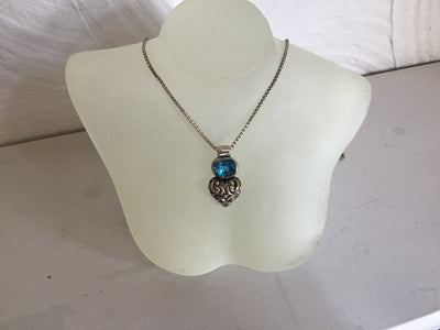 Stunning Bali hand-carved 925 silver Swiss Blue Topaz and silver heart