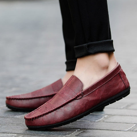 Spring Men Loafers Outdoor Breathable PU Leather