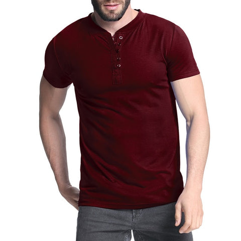 2019 Men's T-shirt Henley Shirts