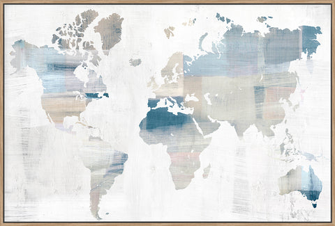 World Map Blue - Canvas