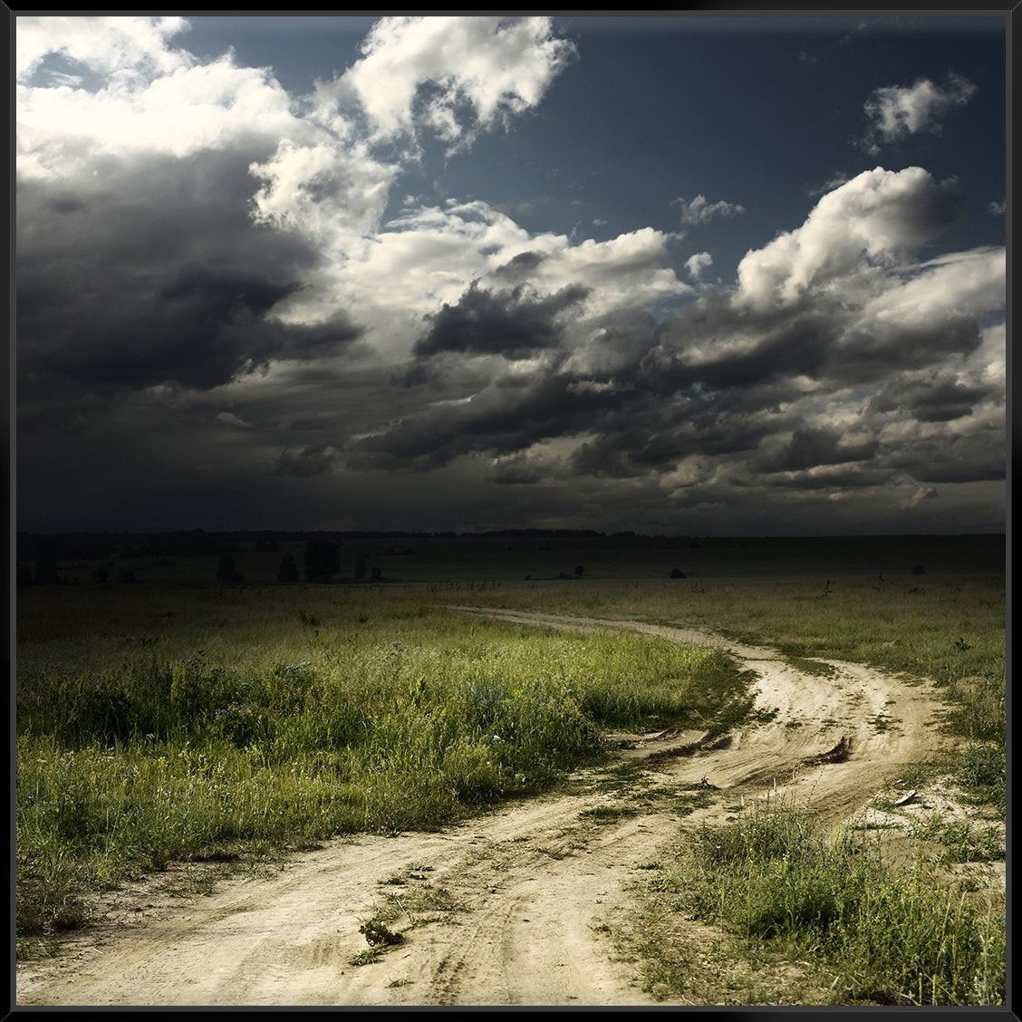 Road In Field + Stormy Clouds 103X103Cm / Black