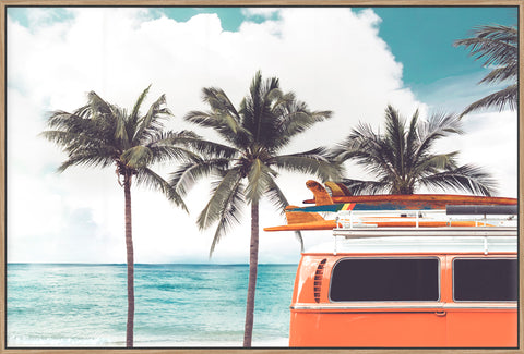 Vintage Combi With Surfboards - Canvas