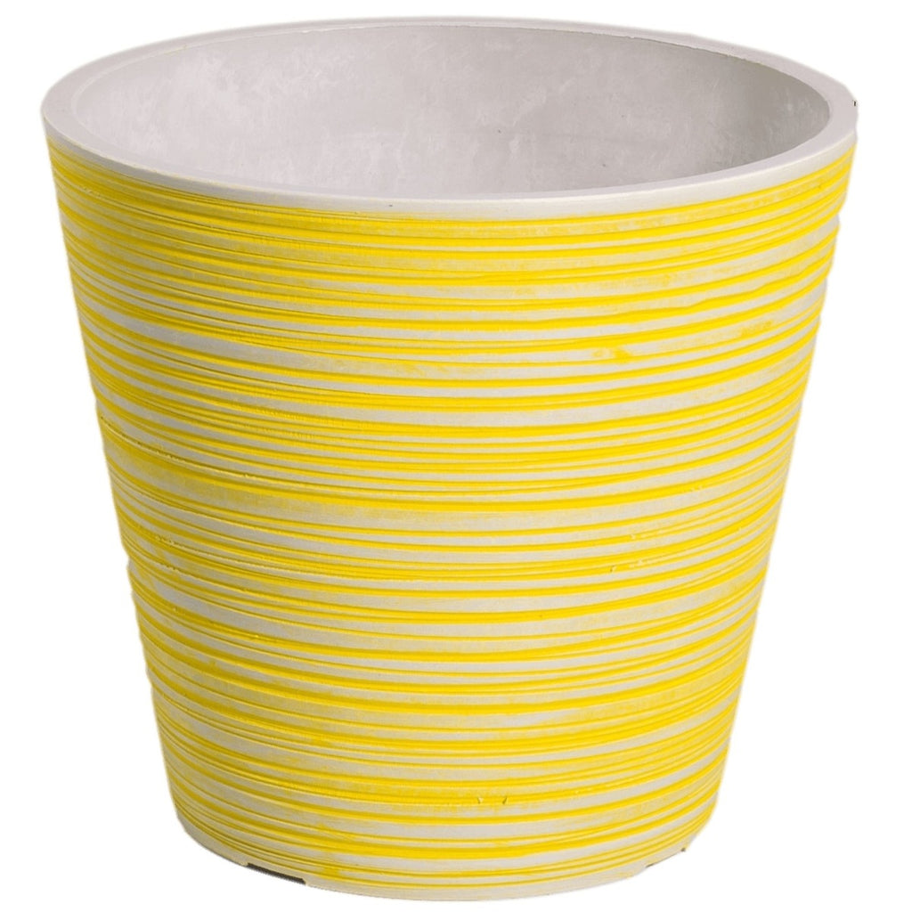 Yellow and White Engraved Pot 14cm - HomeOutdoorsDirect