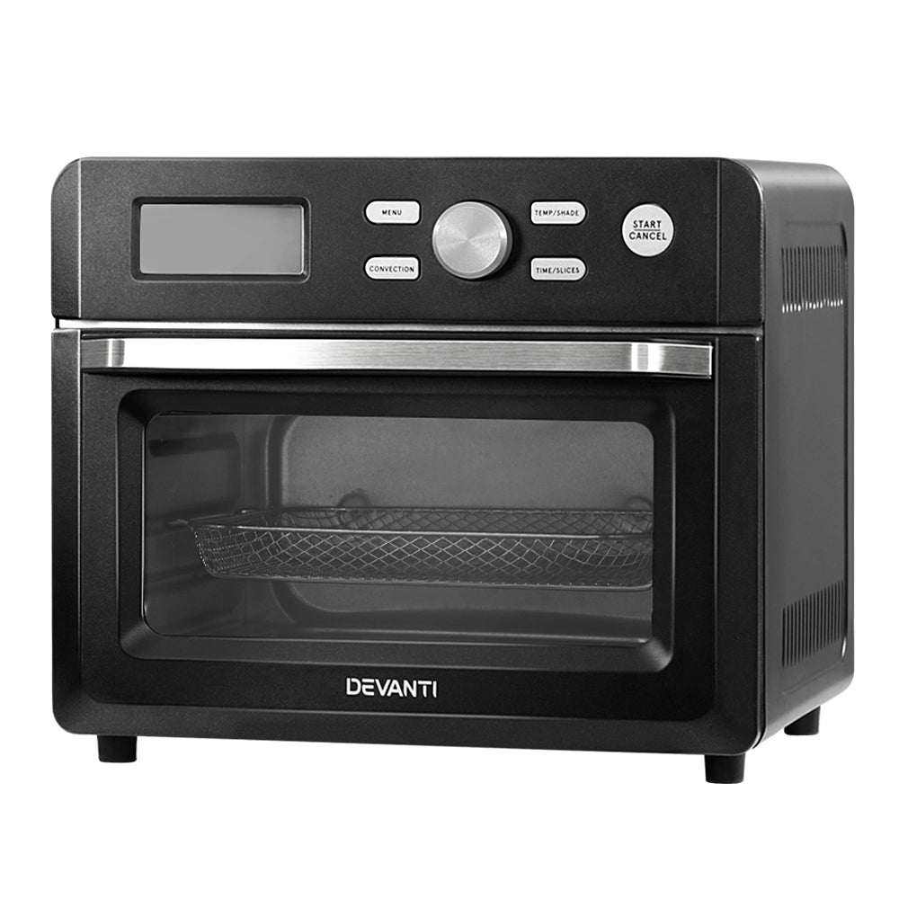 Devanti 20L Air Fryer Convection Oven Oil Free Fryers Kitchen Cooker Accessories Black - HomeOutdoorsDirect