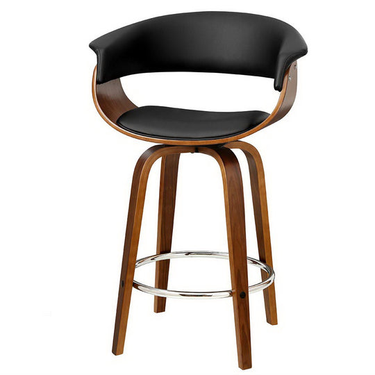 Artiss 1x Swivel Bar Stools Wooden Bar Stool Kitchen Leather Black - HomeOutdoorsDirect