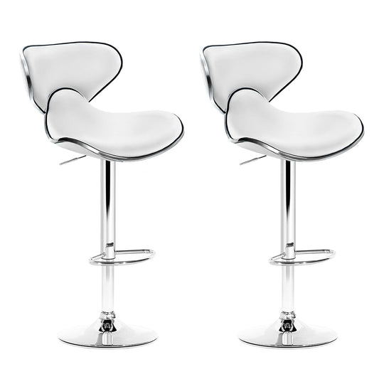 Artiss 2x Bar Stools DINO Kitchen Swivel Bar Stool Leather Gas Lift Chairs White - HomeOutdoorsDirect
