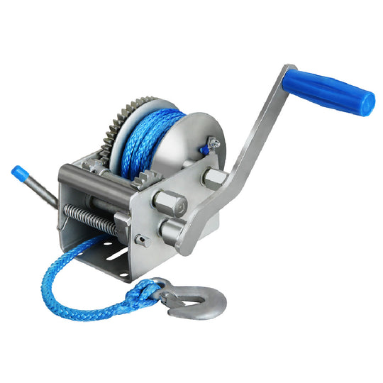 Giantz 3 Speed Hand Winch Synthetic Rope - HomeOutdoorsDirect